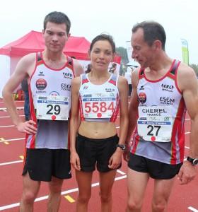 Antoine Launay, Anne Le Cunuder et Fabriche Chérel à l'arrivée.