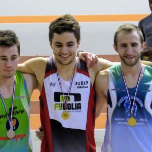 Thibaut Queffélec, champion départemental sur 200 m (espoirs).